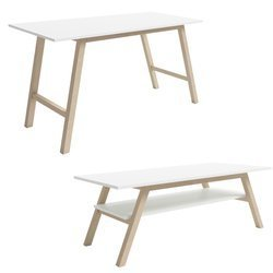 Ensemble de deux tables basses Carl et Kris blanc mat