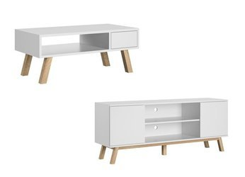 Ensemble meubles de salon : table basse Ver + meuble TV Vero blanc mat