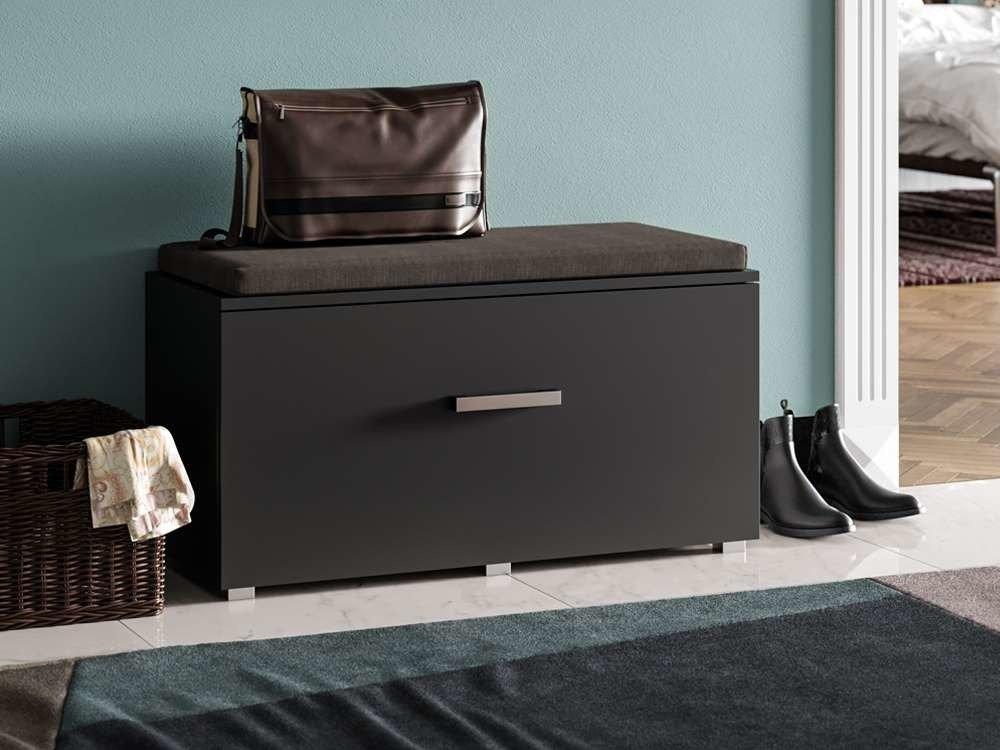 Banc d'entrée avec rangement chaussures Opal noir 4 placards Noir mat - trend-home.fr