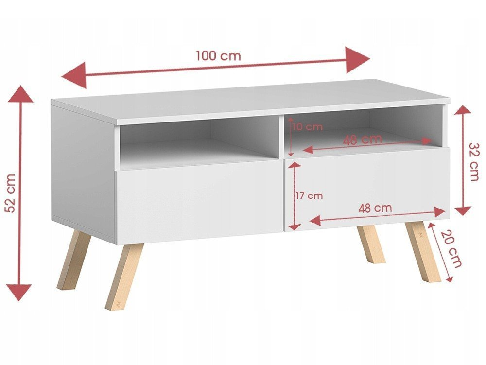 Meuble Tv Astra I Blanc 100 Cm Blanc Mat 100 Cm Trend Home Fr