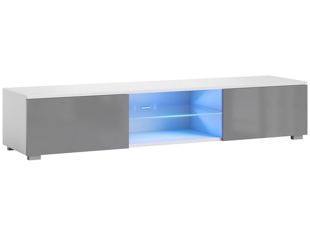 plus de photos ebafd b1bb2 Meuble TV Bridgette gris/blanc brillant 140 cm LIVRAISON GRATUITE