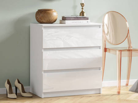 Commode 3 tiroirs Pari 3 blanc brillant 70 x 40 x 76 cm