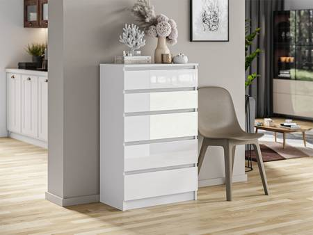 Commode 5 tiroirs Pari 5 blanc brillant 112,5 x 40 x 70 cm