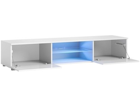Meuble TV Bridgette blanc brillant 40 x 140 x 36 cm