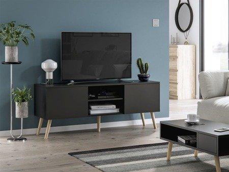 Meuble tv romeo noir mat 140cm livraison gratuite noir mat magasin de meubles trend - Meuble tv noir mat ...