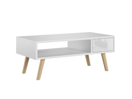 Table basse Julia blanc brillant 40 x 80 cm
